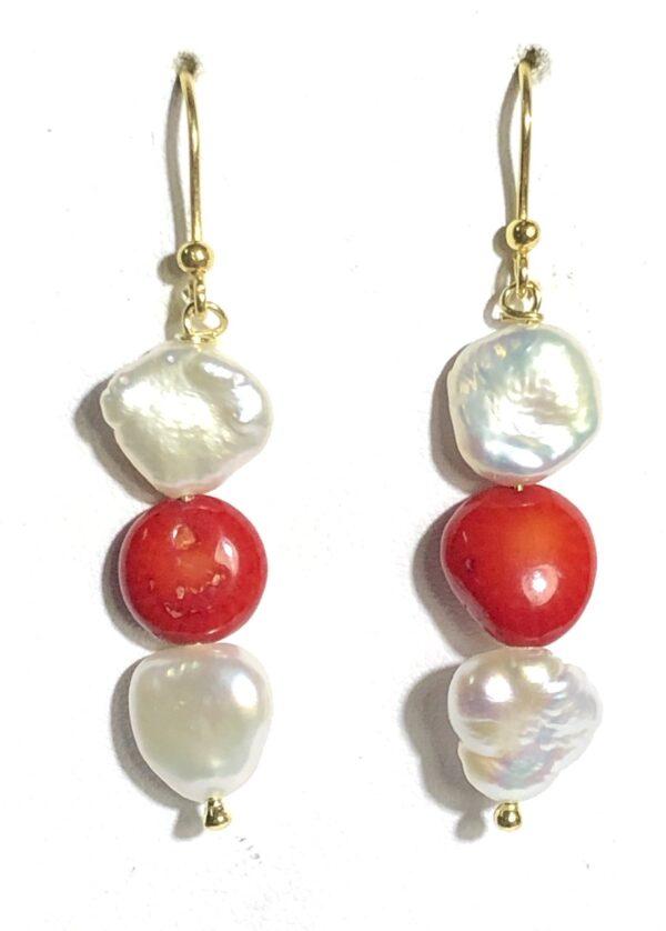 Orecchini perle e corallo